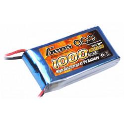 Gens ace 1000mAh 7.4V 25C 2S1P Lipo Battery Pack (B-25C-1000-2S1P)