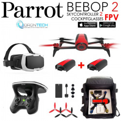 Pack PARROT FPV Bebop 2 Drone Rouge Cockpitglasses + Skycontroller V2 + 2x Batteries Inclus+ Sac rangement