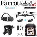 Pack PARROT FPV Bebop 2 Drone Blanc Cockpitglasses + Skycontroller V2 + 2x Batteries Inclus+ Sac rangement