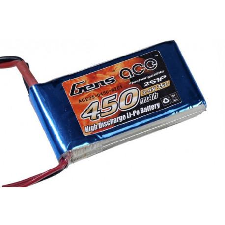 Gens ace 450mAh 7.4V 25C 2S1P Lipo Battery Pack (B-25C-450-2S1P)