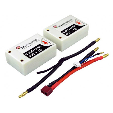 Batterie LiPo 2s1p 7,4V 6.000mAh 45C BRAINERGY contact PK 4,0mm SP (801002)