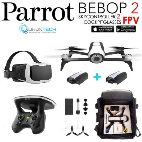 Pack FPV Bebop 2 Drone BLANC + Cockpitglasses + Skycontroller V2 + Batterie Blanche