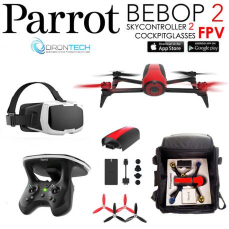 Pack FPV Bebop 2 Drone ROUGE + Cockpitglasses + Skycontroller V2 + Batterie Rouge + Power Bank