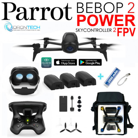 Drone Bebop 2 FPV Power + Sac AC130 + Batterie + Power bank