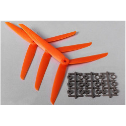 Three Blade 7x3.5R Propellers Orange (3pcs)